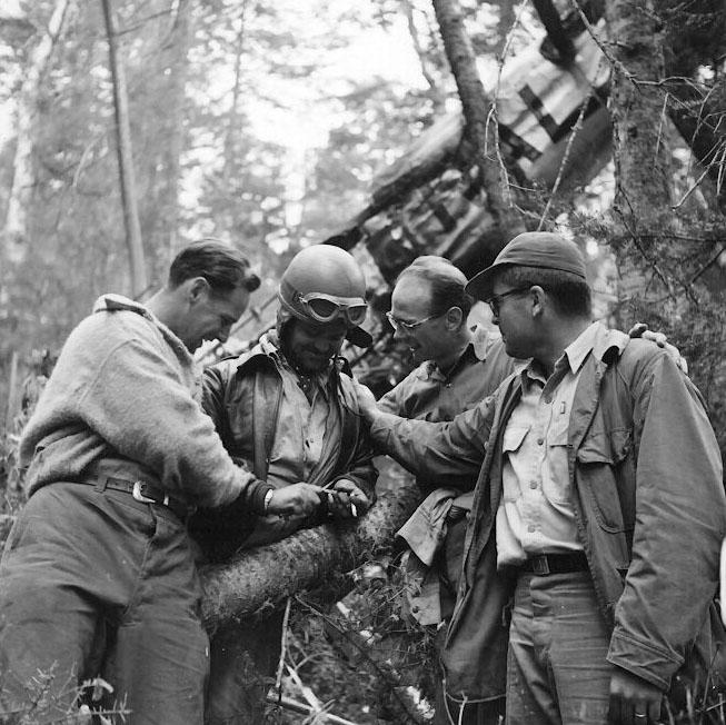 Stearman crash - rescue efforts. Bauman series 1952.