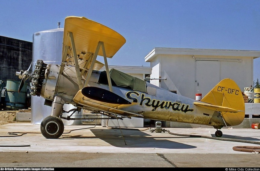 Boeing Stearman, CF-DFC, Skyway Air Sevices http://www.abpic.co.uk/photo/1101894/ August 1967, Abbotsford, BC. Mike Ody Collection