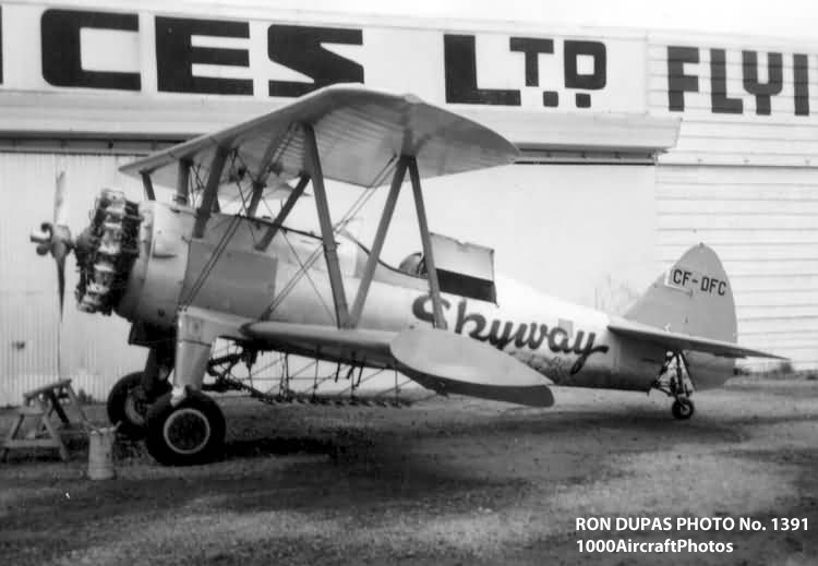 RON DUPAS PHOTO No. 1391. Stearman A75N1 N2S-4 (CF-DFC c/n 75-4895) Skyway Air Services 11/30/2007. Manufactured in 1943, delivered to the US Navy, assigned BuNo. 55658. This aircraft was converted to a crop duster, Skyways was based in Langley, British Columbia, in the 1950s.