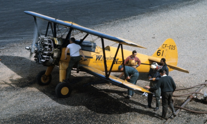 Wheeler Stearman loading at Juniper, NB, June 1967