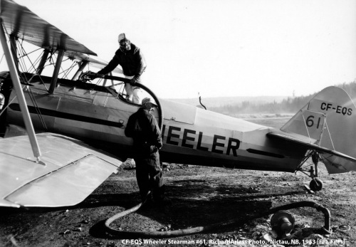 Wheeler Stearman CF-EQS #61 at Nictau Airstrip, New Brunswick, during the spray season 27 May to 2 June, 1953. [Richard Arless Photo, from the FPL Files]