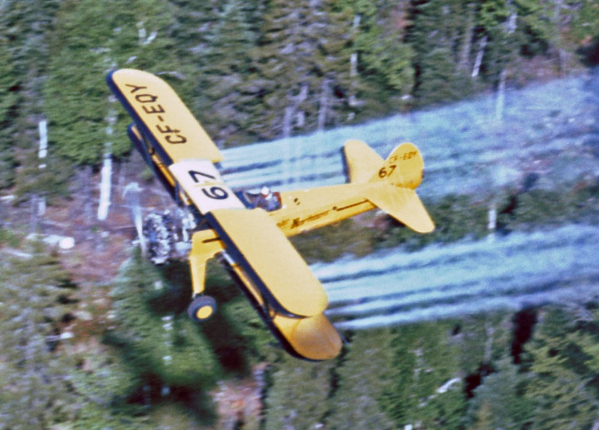 Stearman #67 CF-EQY spraying, Juniper NB, June 1967