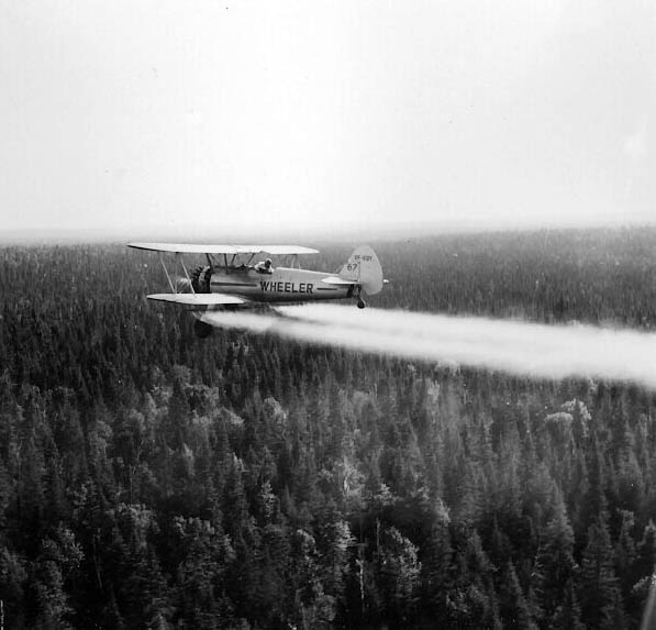 Wheeler Stearman spraying, 1950s
