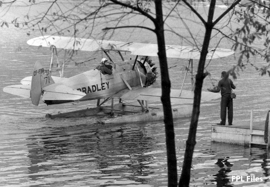 Bradley Stearman #71 CF-FBD on floats. FPL used FFBD for experimental fire fighting. Flown by Al Breze of Evergreen. {FPL Files]