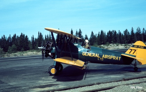 General Airspray Stearman CF-FRZ at Juniper NB, Jun 1967