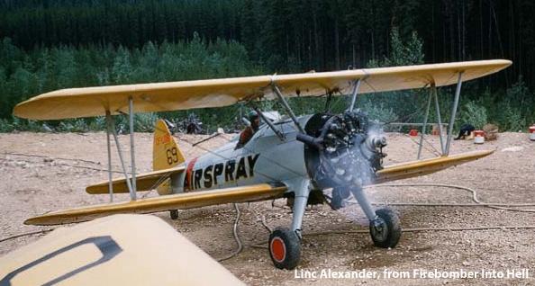 Airspray Stearman CF-LOB #69, 1960, Westaskiwin Alberta. Linc Alexander, from Firebomber Into Hell. (2010)
