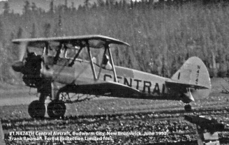 #1 N4747H Central Aircraft. Budworm City, New Brunswick, June 1952. Bauman series, Forest Protection Limited files.
