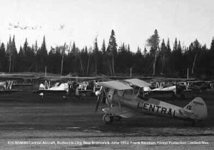 #15 N58680 Central Aircraft. Budworm City, New Brunswick, June 1952. Bauman series, Forest Protection Limited files.