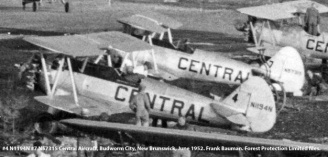 #4 N1194N and #7 N57315 Central Aircraft. Budworm City, New Brunswick, June 1952. Bauman series, Forest Protection Limited files.