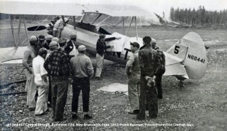 #5 N68441 Central Aircraft. Budworm City, New Brunswick, June 1952. Bauman series, Forest Protection Limited files.