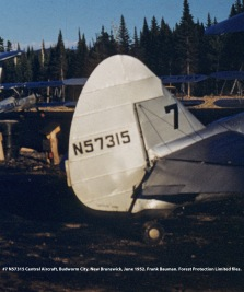 #7 N57315 Central Aircraft. Budworm City, New Brunswick, June 1952. Bauman series, Forest Protection Limited files.