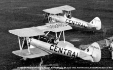 #9 N58480 and #6 N1310N Central Aircraft. Budworm City, New Brunswick, June 1952. Bauman series, Forest Protection Limited files.