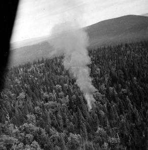 Stearman crash, near Budworm City, 1952. Bauman series.