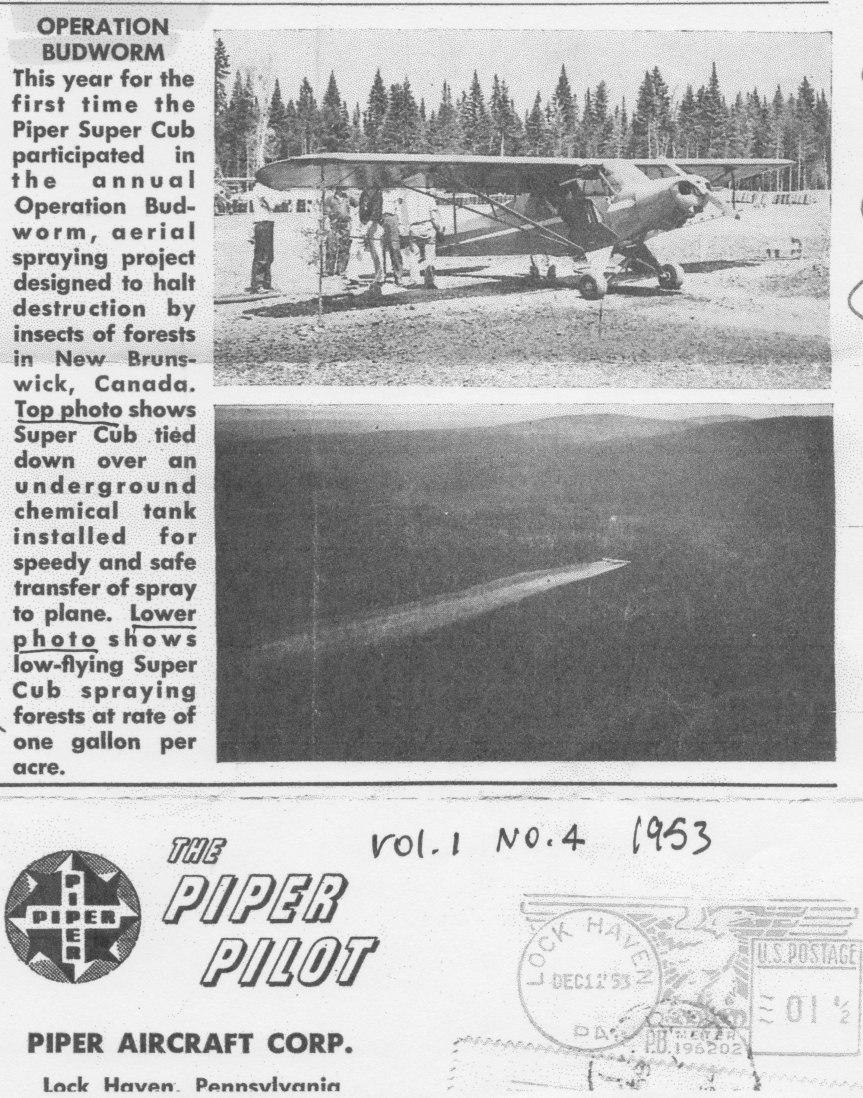 Piper Cub spraying 1952