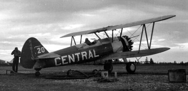 - #20 N4811V, the only all dark Stearman - Image by Dwight Dolan at Nictau, New Brunswick, 7-13 June 1953. FPL files.