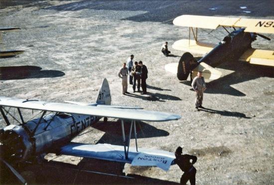 - #37 Nxxxxx and #68 N54945 - Stearmans at Boston Brook airstrip, 1953, Mac McGlothin image.
