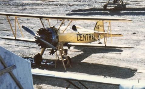 - #41 N4787V, #45 Nxxxxx and unknown - Stearmans at Boston Brook airstrip, 1953, Mac McGlothin image.