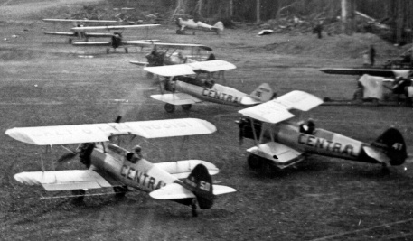 - #50 68181? and #47 Nxxxxx - Stearmans parked at Budworm City, NB, in the 1950s FPL files