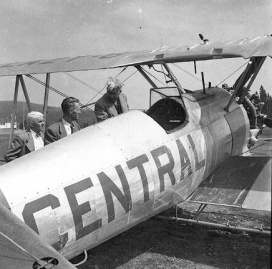 """- #50 68181? showing """"CALI-?"""" on upper left wing -Stearmans parked at Budworm City, NB, in 1953. FPL files."""