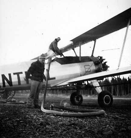 """- Mystery Central Stearman with """"6"""" on side near nose - Richard Arless Assoc., Nictau, NB, 27 May to 2 June, 1953."""
