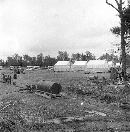 Airstrip and buildings at Boston Brook airstrip. Dwight Dolan, New Brunswick, 7-13 June, 1953.