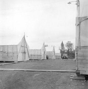 Buildings at Boston Brook airstrip. Dwight Dolan, New Brunswick, 7-13 June, 1953.