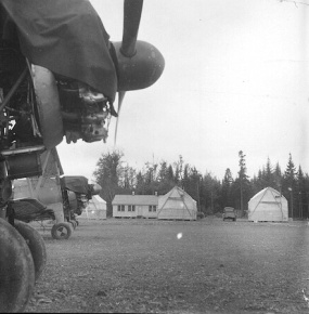 Stearmans and buildings at Boston Brook airstrip. Dwight Dolan, New Brunswick, 7-13 June, 1953.