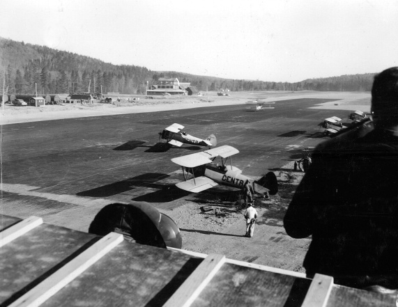 Looking north along the Nictau Airstrip from the control tower. Richard Arless Assoc., Nictau, NB, 27 May to 2 June, 1953.