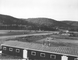 Looking south past the cookhouse, Nictau Airstrip. Richard Arless Assoc., Nictau, NB, 27 May to 2 June, 1953.