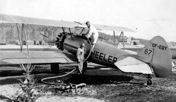 Wheeler Stearman CF-EQY #67 at Nictau. Image taken by Richard Arless at Nictau, New Brunswick, between 27 May and 2 June, 1953.