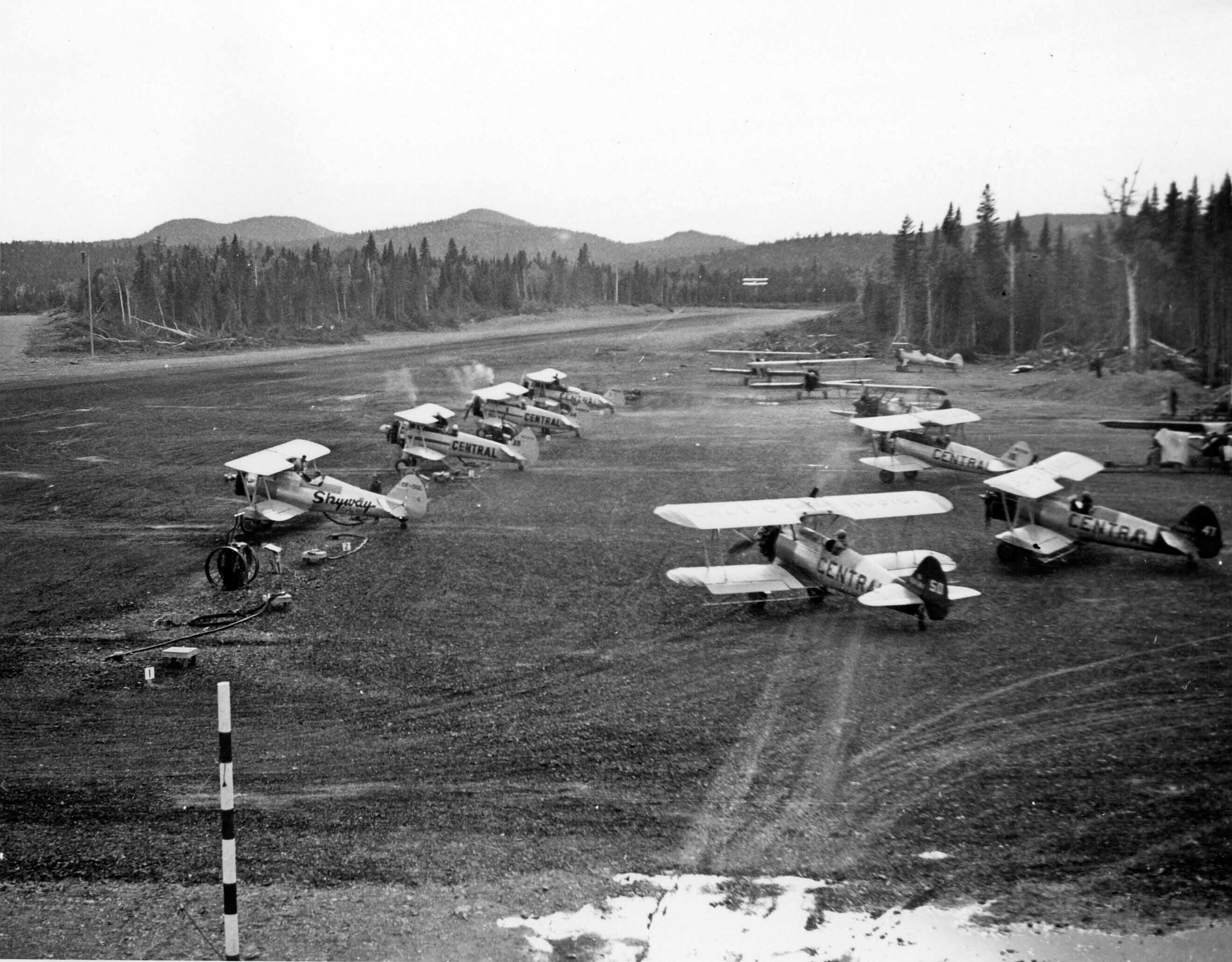 Stearmans parked at Budworm City, NB, in the 1950s