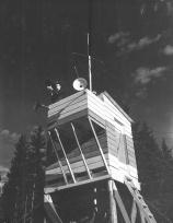 The control tower, Nictau Airstrip. Richard Arless Assoc., Nictau, NB, 27 May to 2 June, 1953.