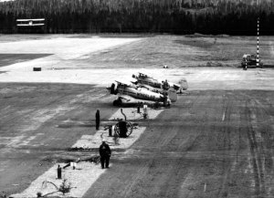 Wheeler Stearmans at Nictau from the previous image, taken by Richard Arless at Nictau, New Brunswick, between 27 May and 2 June, 1953.