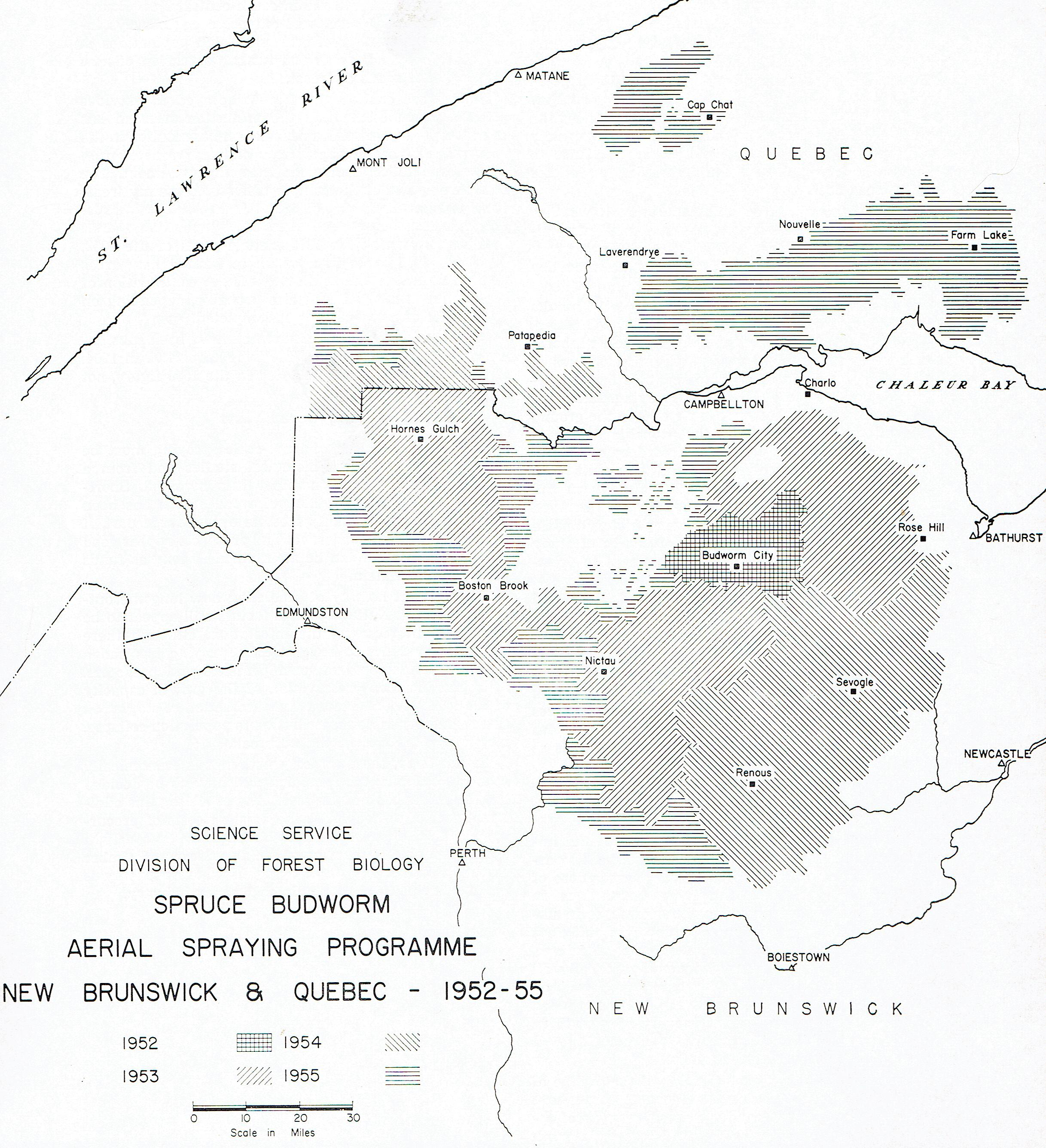 This image maps the extent of the spray areas in New Brunswick and Quebec (but not Maine) in 1954, and shows the locations of the airstrips used. The area sprayed in Quebec is only a small area south and west of Patapedia.