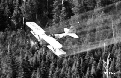 Skyway Stearman CF-DFC #81 spraying. Image probably taken by Richard Arless at Nictau, New Brunswick, between 27 May and 2 June, 1953.