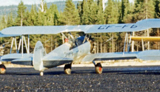 Skyway Stearman #85. Image possibly taken by Richard Arless at Nictau, New Brunswick, between 27 May and 2 June, 1953.