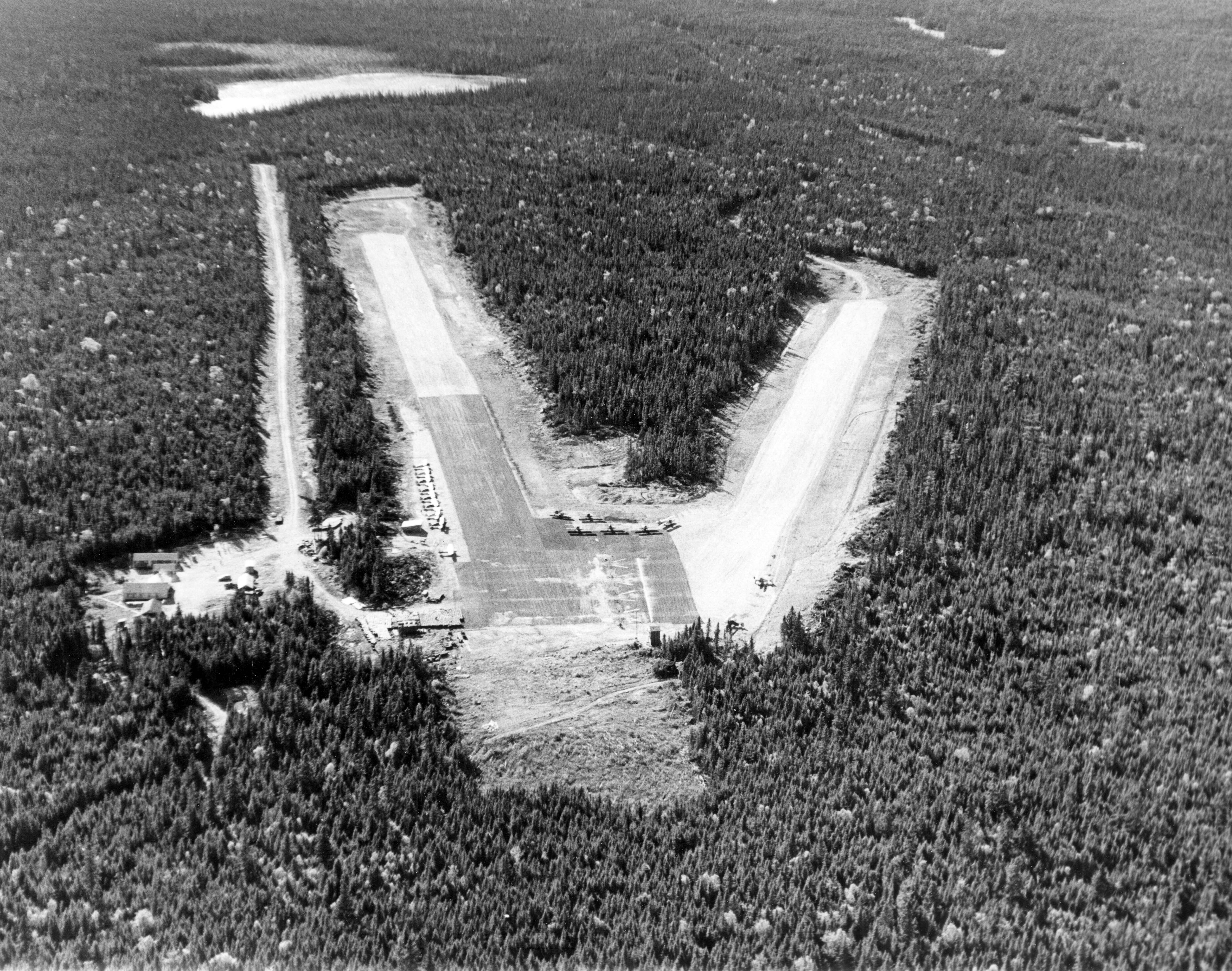 Renous airstrip, NB, 1950s. Canada Dept. Agriculture photo #40650-12.